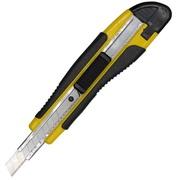 Нож канцелярский 9мм усиленный прорезиненный корпус с 2-мя лезвиями